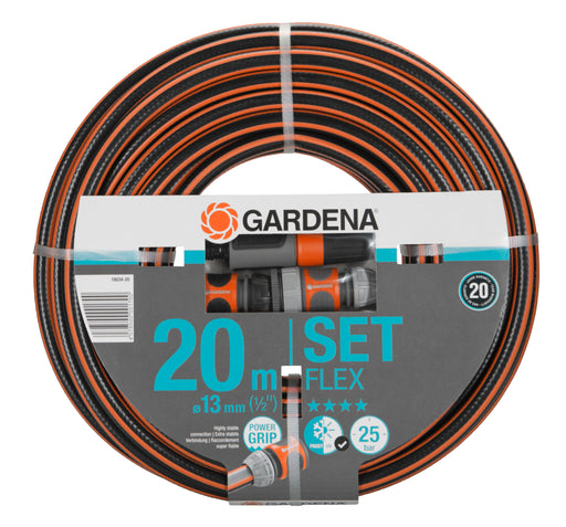 "Gardena Comfort Flex Hose Pipe 13Mm (1/2"") 20M With Connections - Mincost"