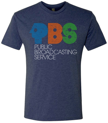 Men's Navy Blue Vintage PBS Short Sleeve T-Shirt