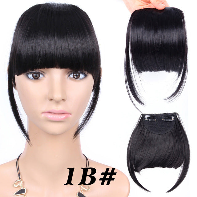 Clip On Bangs Hairpiece Black Brown Blonde Synthetic Hair Extensions