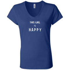 This Girl Is Happy Ladies' V-Neck T-Shirt