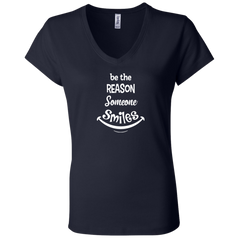 Be The Reason Someone Smiles Ladies' Jersey V-Neck T-Shirt