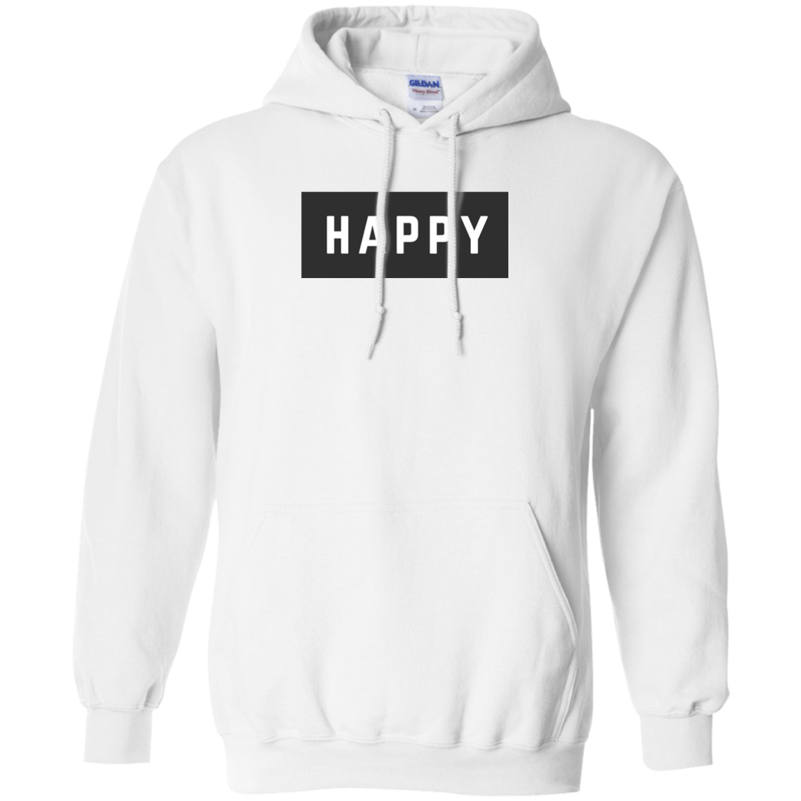 Happy Black and White Pullover Hoodie .