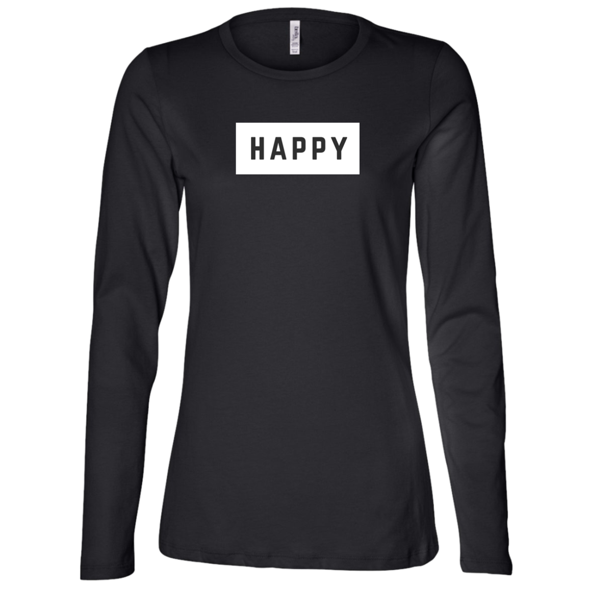 Happy Black and White Ladies' Relaxed Long Sleeve T-Shirt