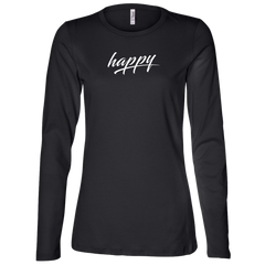 Just Happy Ladies' Relaxed Fit Long Sleeve Tee Shirt