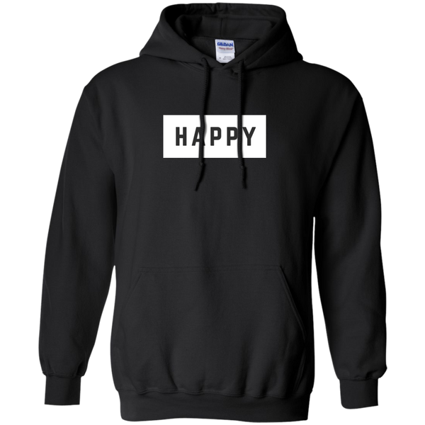 Happy Black and White Pullover Hoodie.