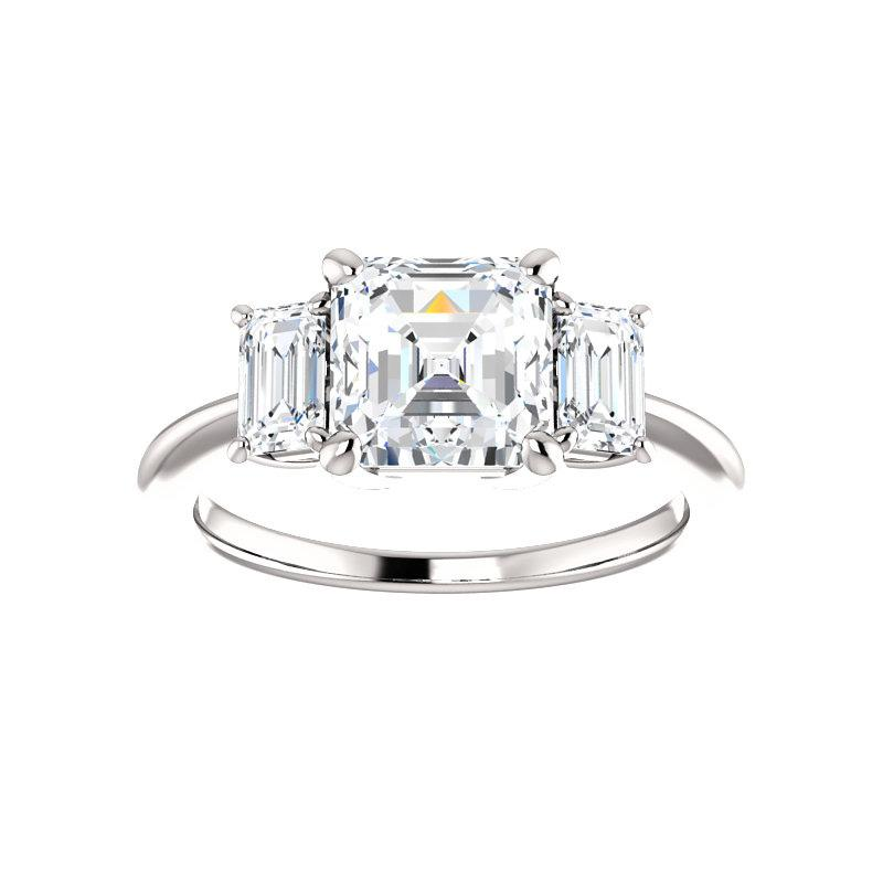The Letitia Asscher Moissanite Engagement Ring Solitaire Setting White Gold