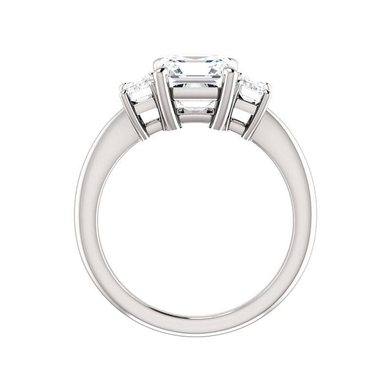 The Letitia Asscher Moissanite Engagement Ring Solitaire Setting White Gold Side Profile