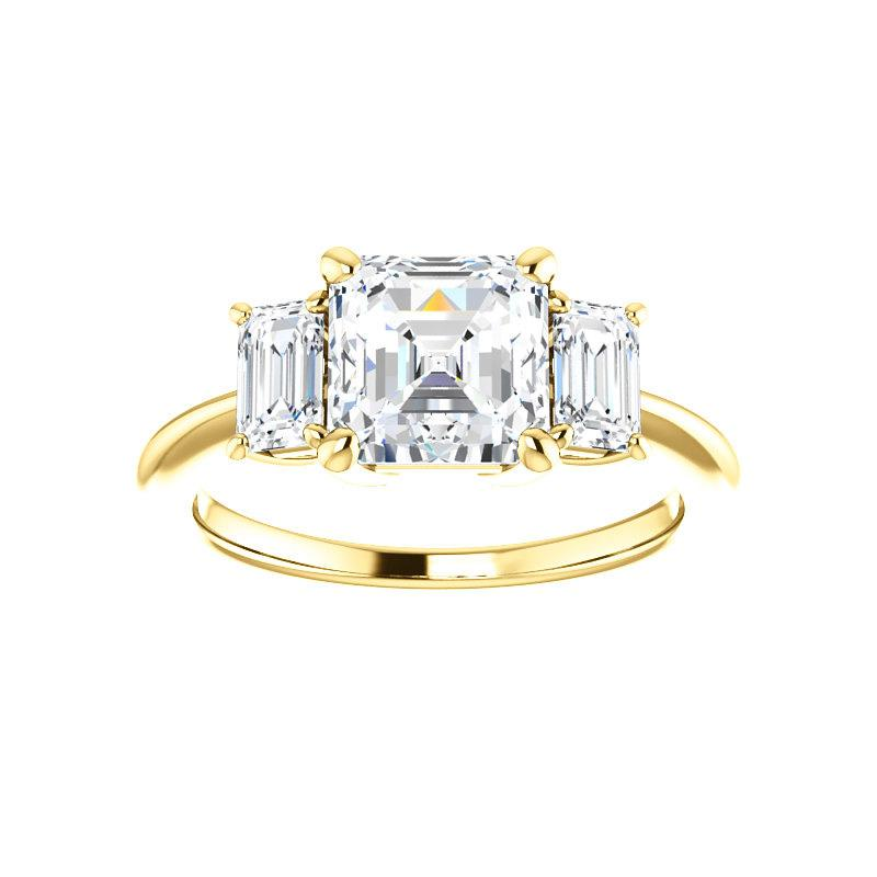 The Letitia Asscher Moissanite Engagement Ring Solitaire Setting Yellow Gold