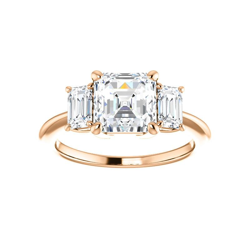 The Letitia Asscher Moissanite Engagement Ring Solitaire Setting Rose Gold