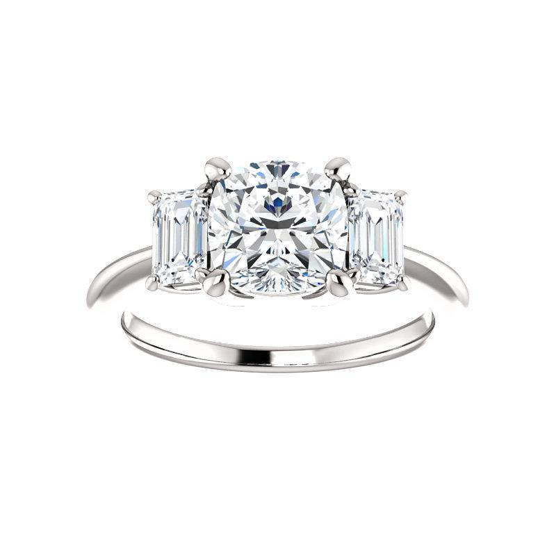 The Letitia Cushion Moissanite Engagement Ring Solitaire Setting White Gold