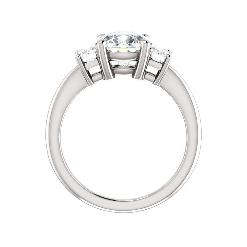 The Letitia Cushion Moissanite Engagement Ring Solitaire Setting White Gold Side Profile