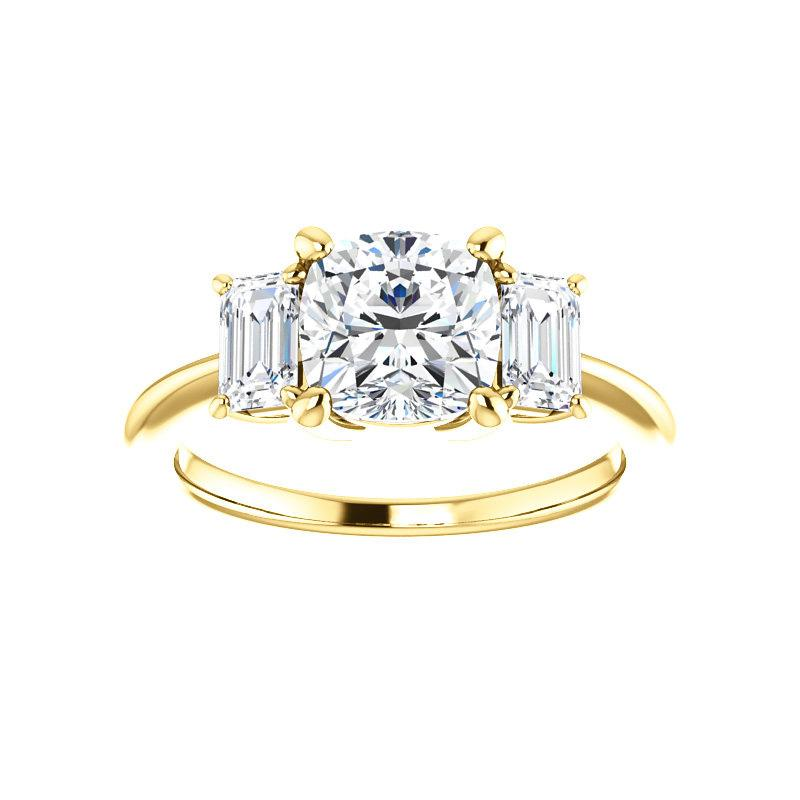 The Letitia Cushion Moissanite Engagement Ring Solitaire Setting Yellow Gold