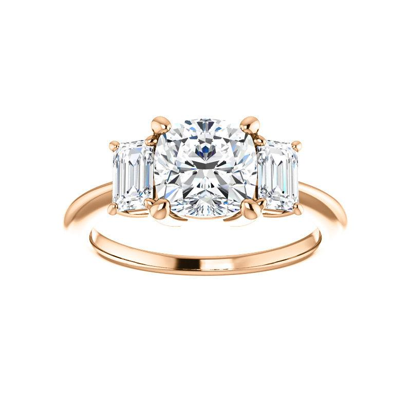 The Letitia Cushion Moissanite Engagement Ring Solitaire Setting Rose Gold