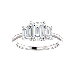 The Letitia Emerald Moissanite Engagement Ring Solitaire Setting White Gold