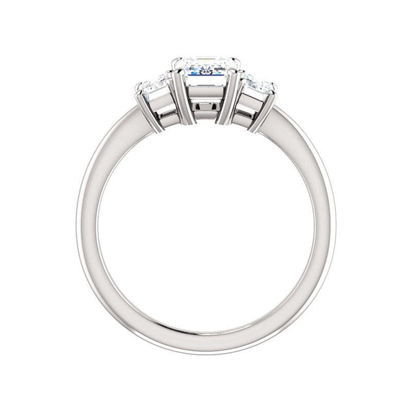 The Letitia Emerald Moissanite Engagement Ring Solitaire Setting White Gold Side Profile