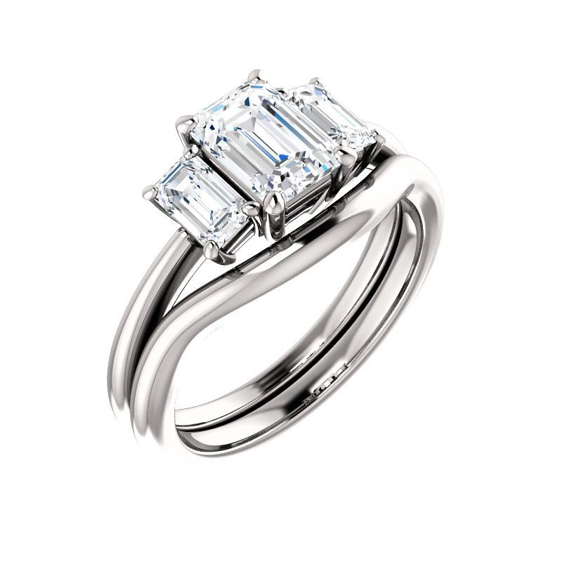 The Letitia Emerald Moissanite Engagement Ring Solitaire Setting White Gold With Matching Band