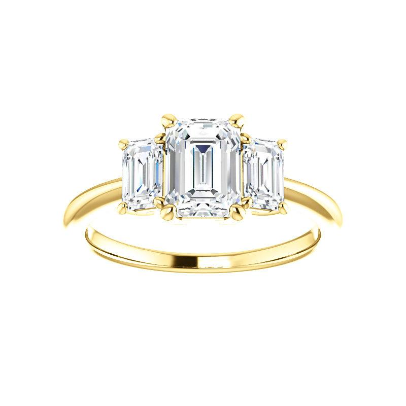 The Letitia Emerald Moissanite Engagement Ring Solitaire Setting Yellow Gold