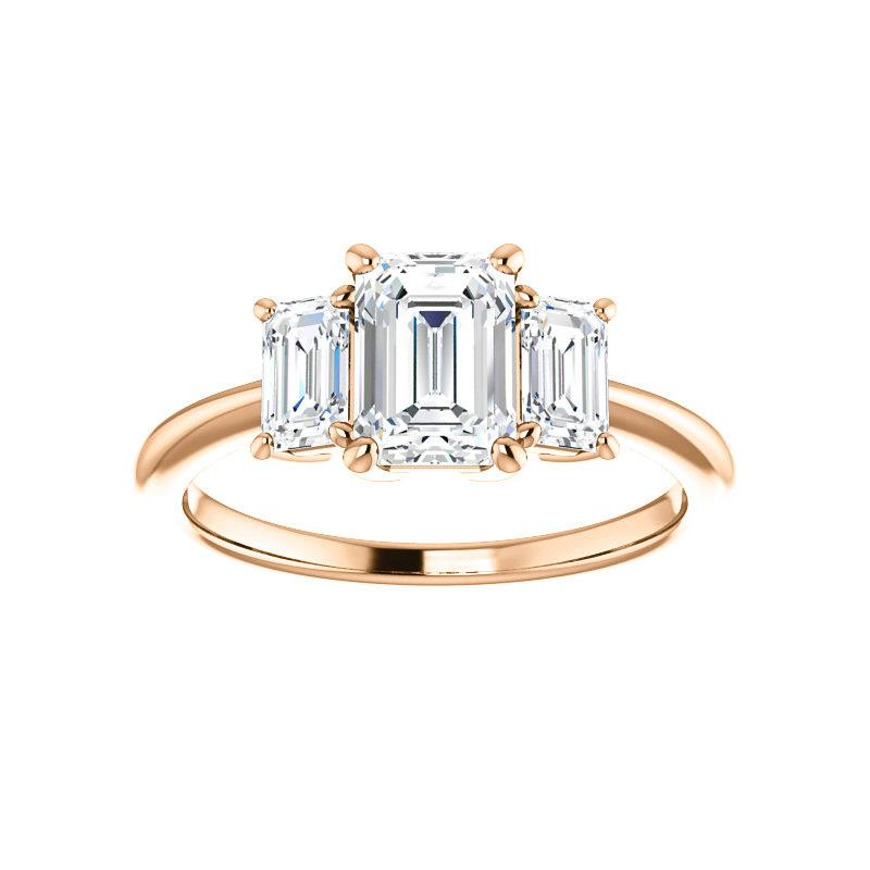 The Letitia Emerald Moissanite Engagement Ring Solitaire Setting Rose Gold