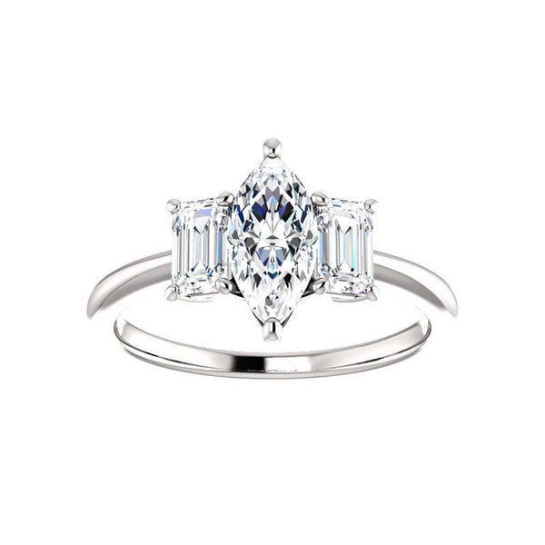 The Letitia Marquise Moissanite Engagement Ring Solitaire Setting White Gold