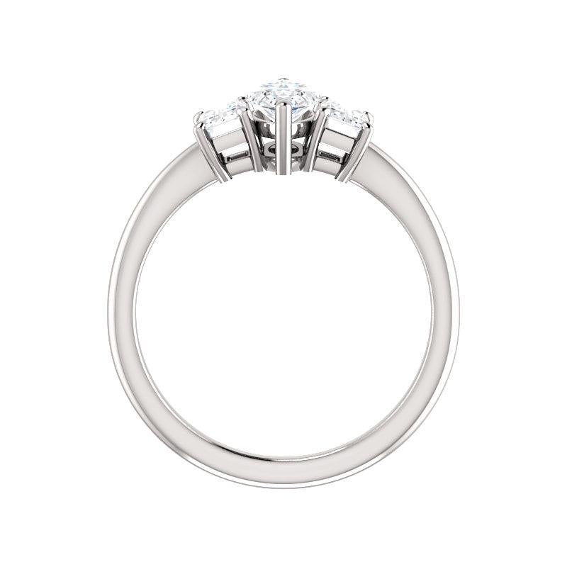 The Letitia Marquise Moissanite Engagement Ring Solitaire Setting White Gold Side Profile