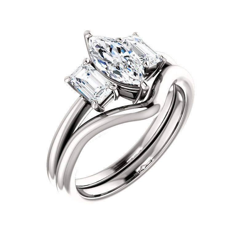The Letitia Marquise Moissanite Engagement Ring Solitaire Setting White Gold With Matching Band