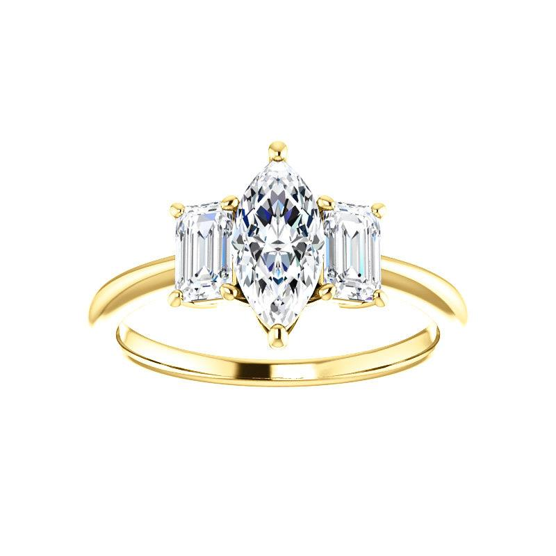 The Letitia Marquise Moissanite Engagement Ring Solitaire Setting Yellow Gold