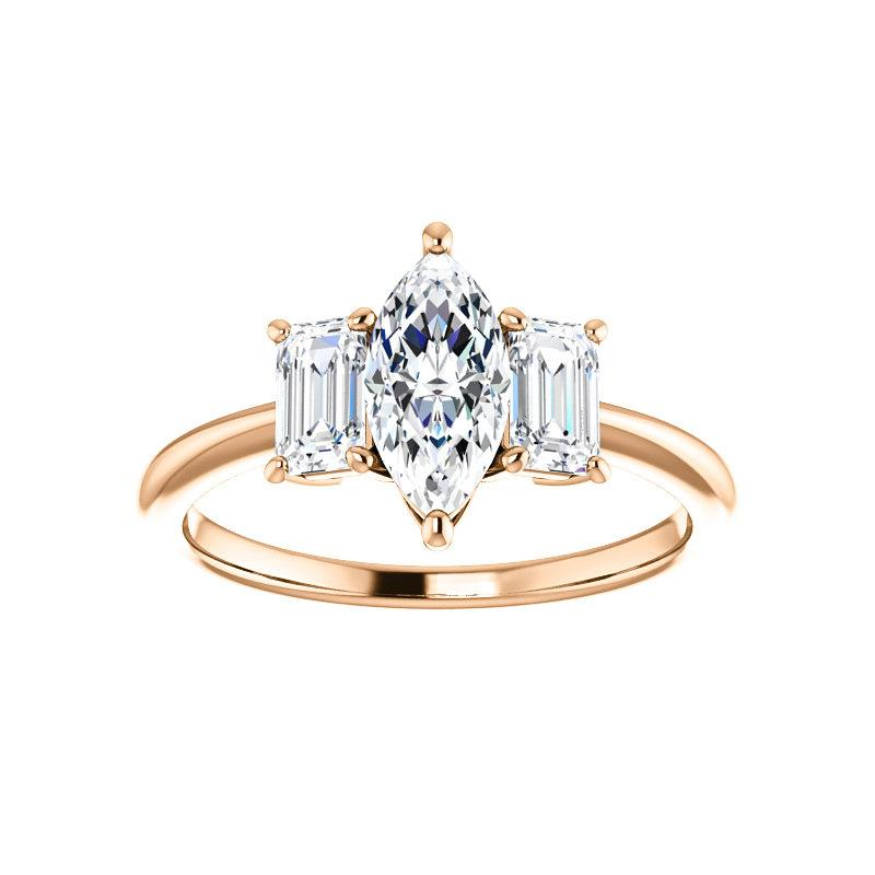 The Letitia Marquise Moissanite Engagement Ring Solitaire Setting Rose Gold
