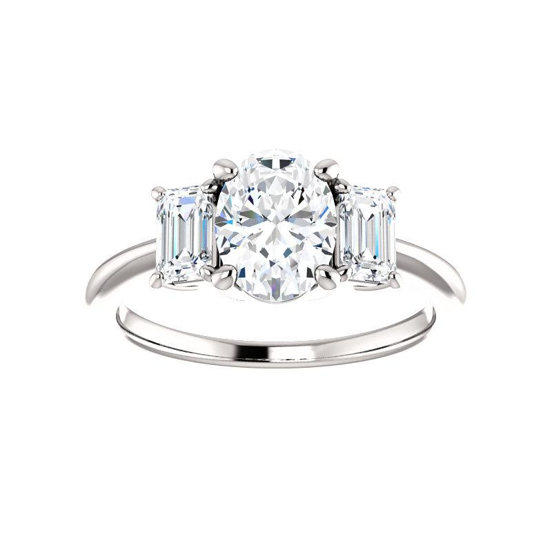 The Letitia Oval Moissanite Engagement Ring Solitaire Setting White Gold