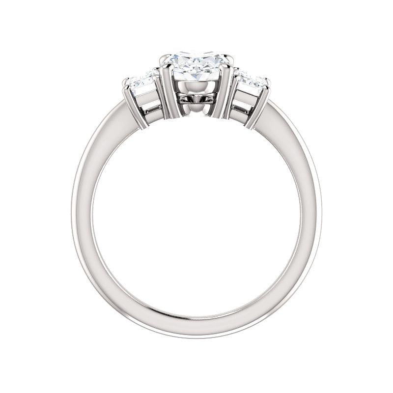 The Letitia Oval Moissanite Engagement Ring Solitaire Setting White Gold Side Profile