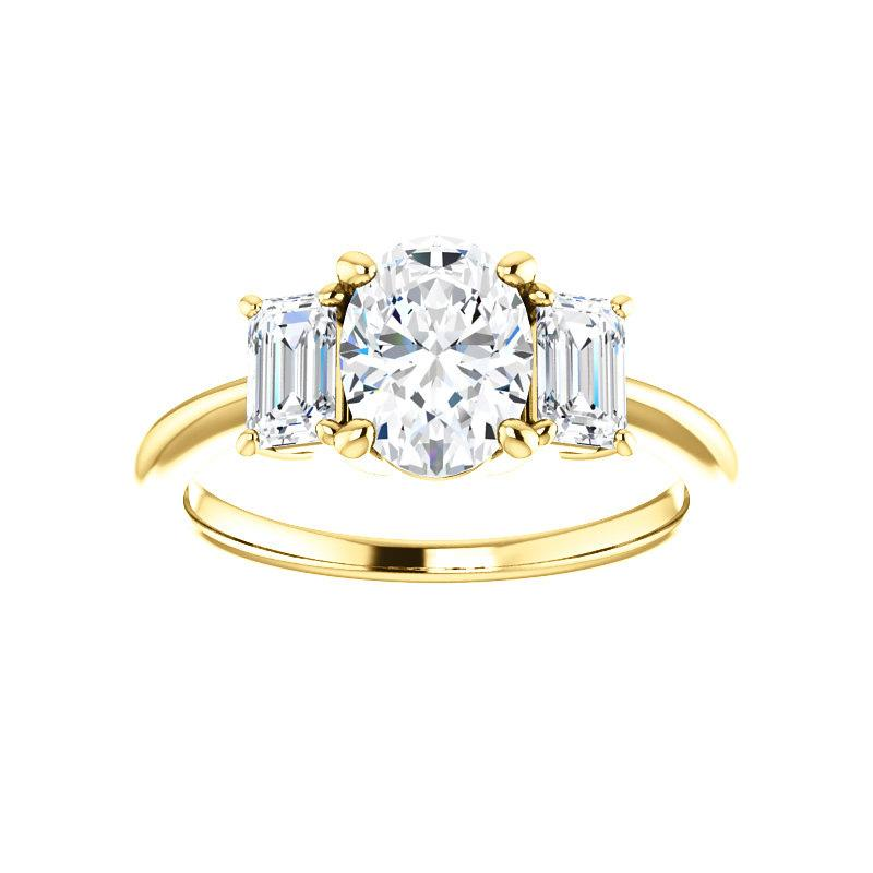 The Letitia Oval Moissanite Engagement Ring Solitaire Setting Yellow Gold