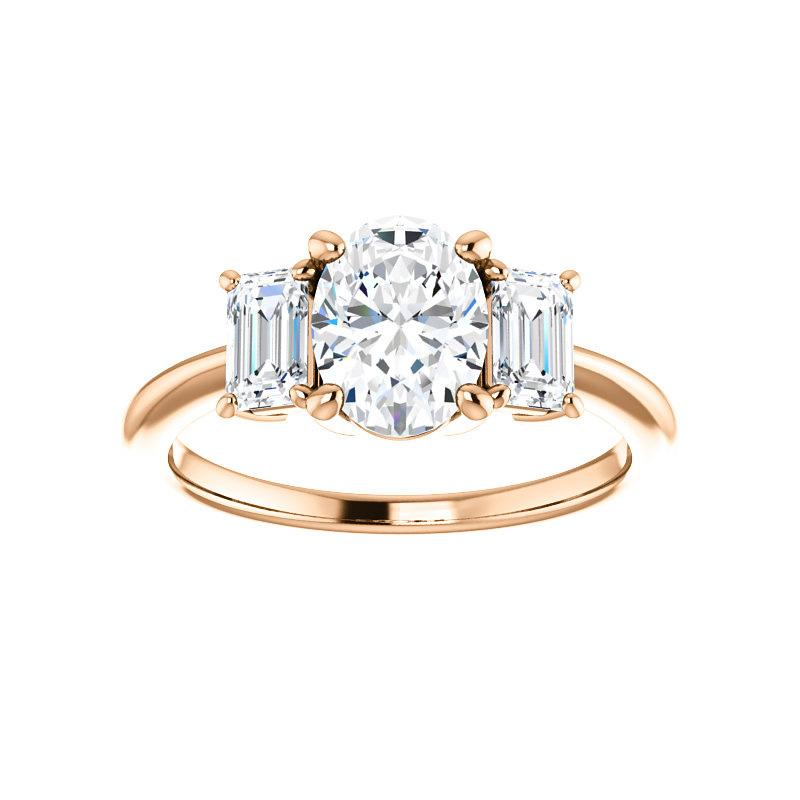The Letitia Oval Moissanite Engagement Ring Solitaire Setting Rose Gold
