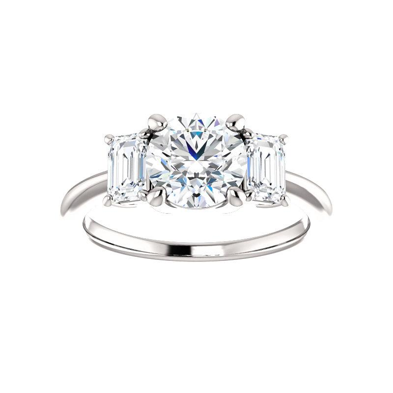 The Letitia Round Moissanite Engagement Ring Solitaire Setting White Gold