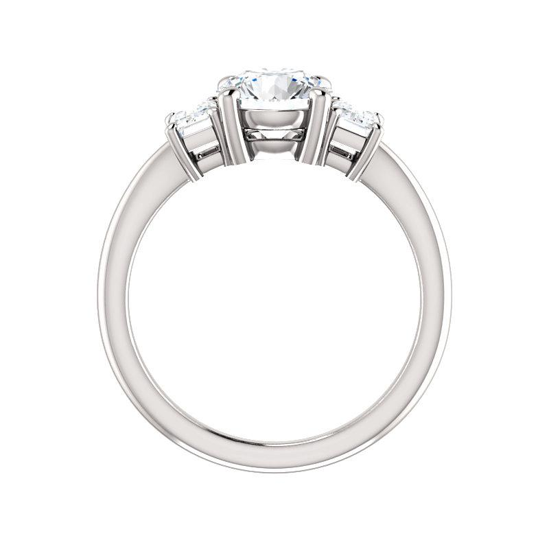 The Letitia Round Moissanite Engagement Ring Solitaire Setting White Gold Side Profile