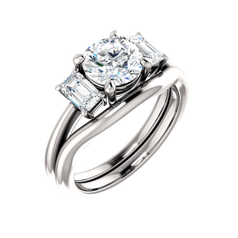 The Letitia Round Moissanite Engagement Ring Solitaire Setting White Gold With Matching Band