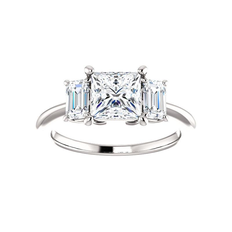The Letitia Princess Moissanite Engagement Ring Solitaire Setting White Gold