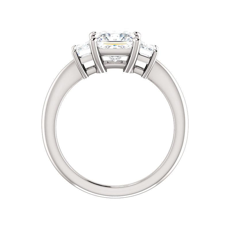 The Letitia Princess Moissanite Engagement Ring Solitaire Setting White Gold Side Profile