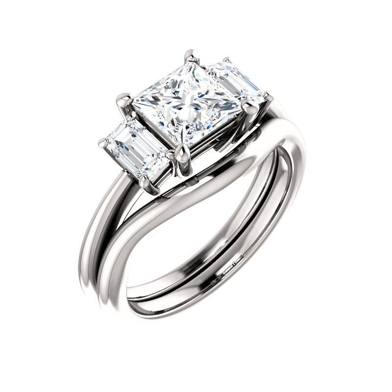 The Letitia Princess Moissanite Engagement Ring Solitaire Setting White Gold With Matching Band