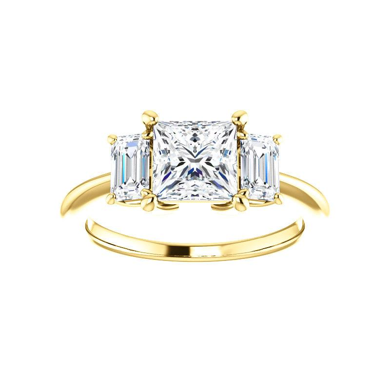 The Letitia Princess Moissanite Engagement Ring Solitaire Setting Yellow Gold