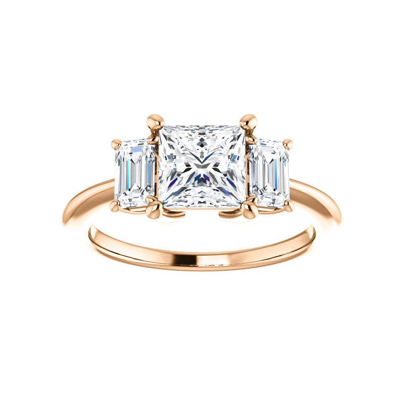 The Letitia Princess Moissanite Engagement Ring Solitaire Setting Rose Gold