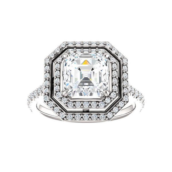 The Viva II Moissanite/ Moissanite Asscher