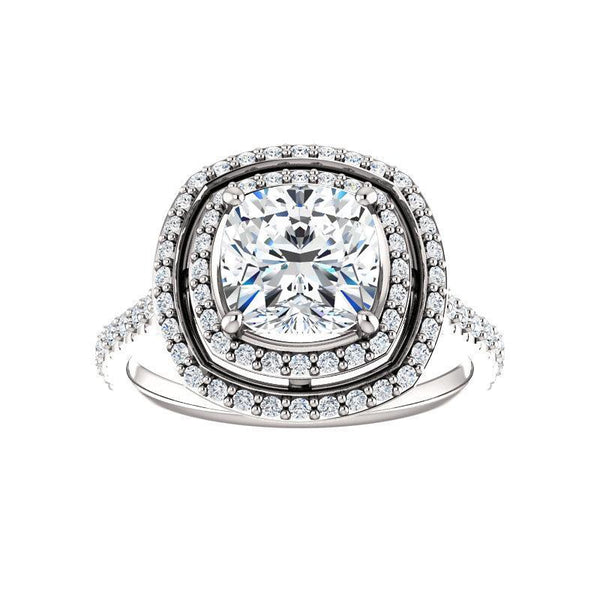 The Viva II Moissanite/ Moissanite Cushion
