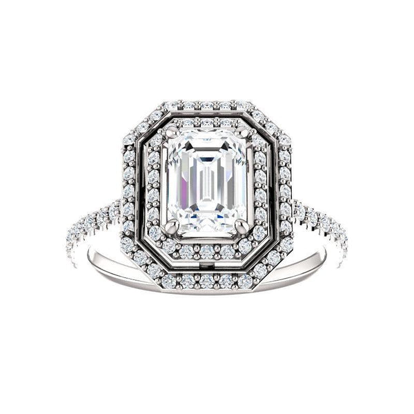 The Viva II Moissanite/ Moissanite Emerald