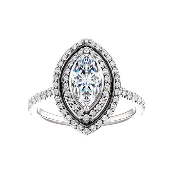 The Viva II Moissanite/ Moissanite Marquise