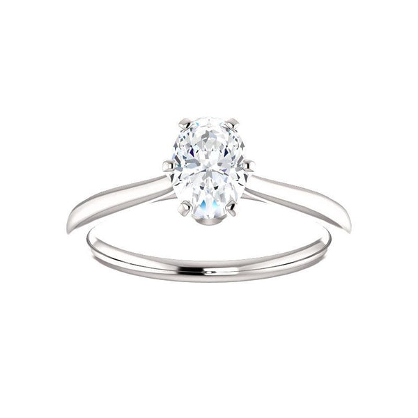 The Denice Oval Moissanite Engagement Ring Rope Solitaire Setting White Gold