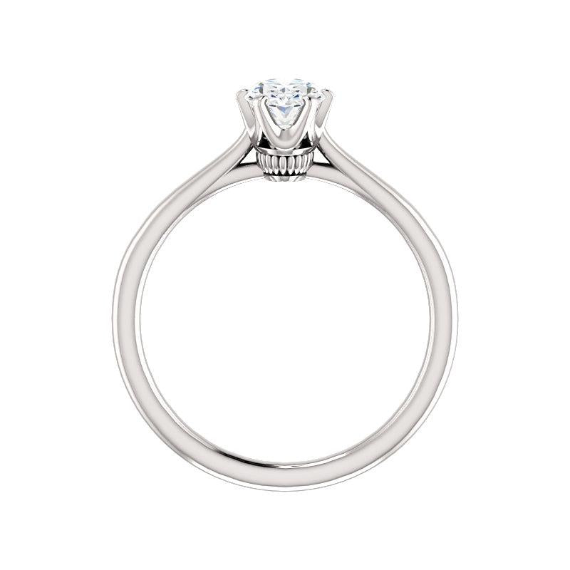 The Denice Oval Moissanite Engagement Ring Rope Solitaire Setting White Gold Side Profile