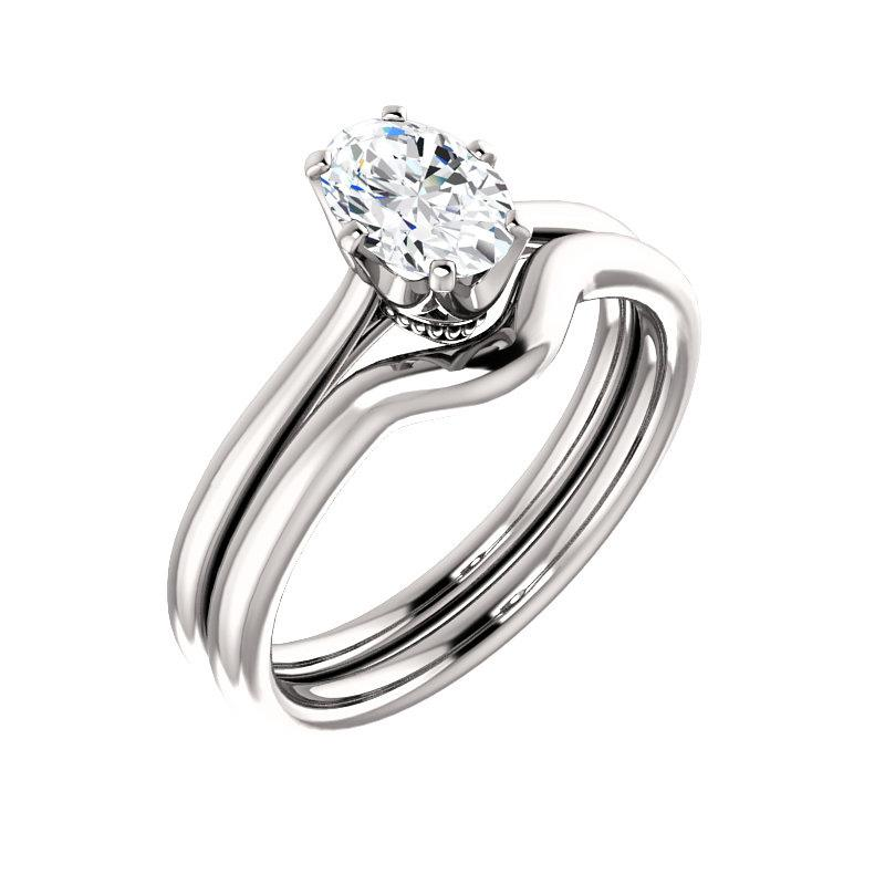 The Denice Oval Moissanite Engagement Ring Rope Solitaire Setting White Gold With Matching Band