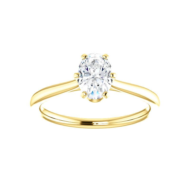 The Denice Oval Moissanite Engagement Ring Rope Solitaire Setting Yellow Gold