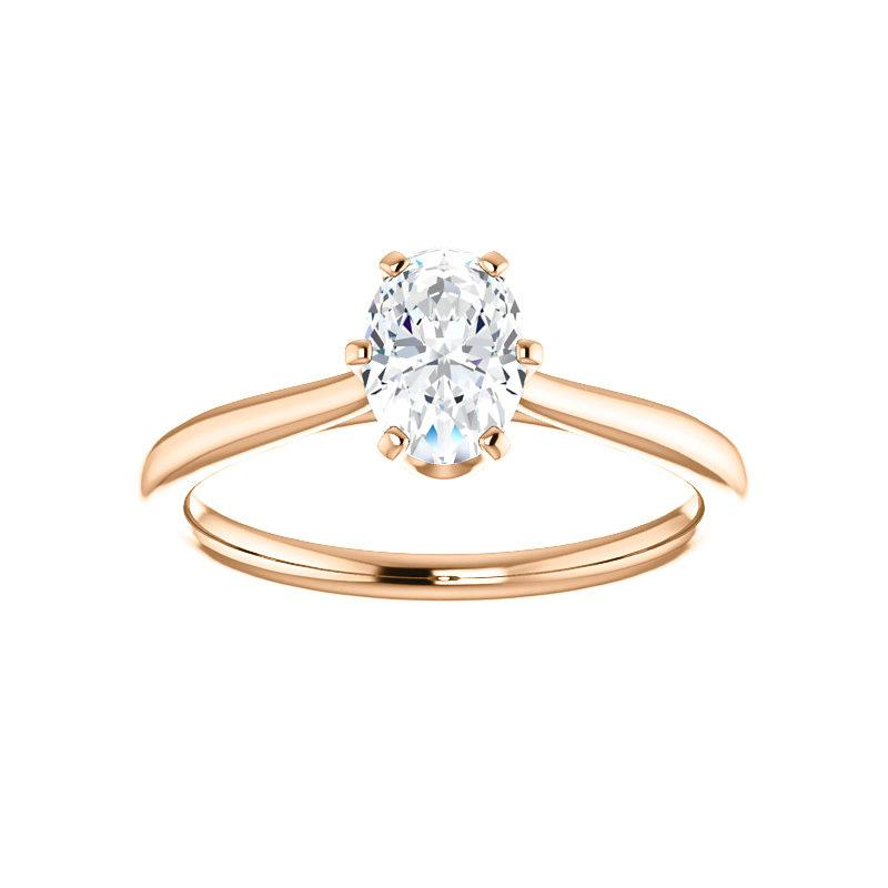 The Denice Oval Moissanite Engagement Ring Rope Solitaire Setting Rose Gold