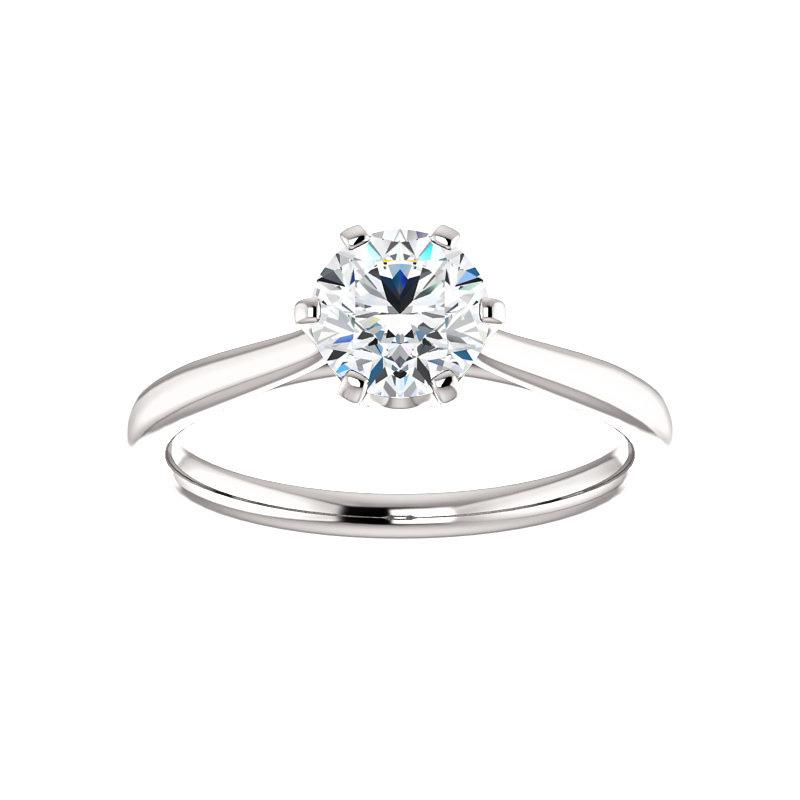 The Denice Round Moissanite Engagement Ring Rope Solitaire Setting White Gold