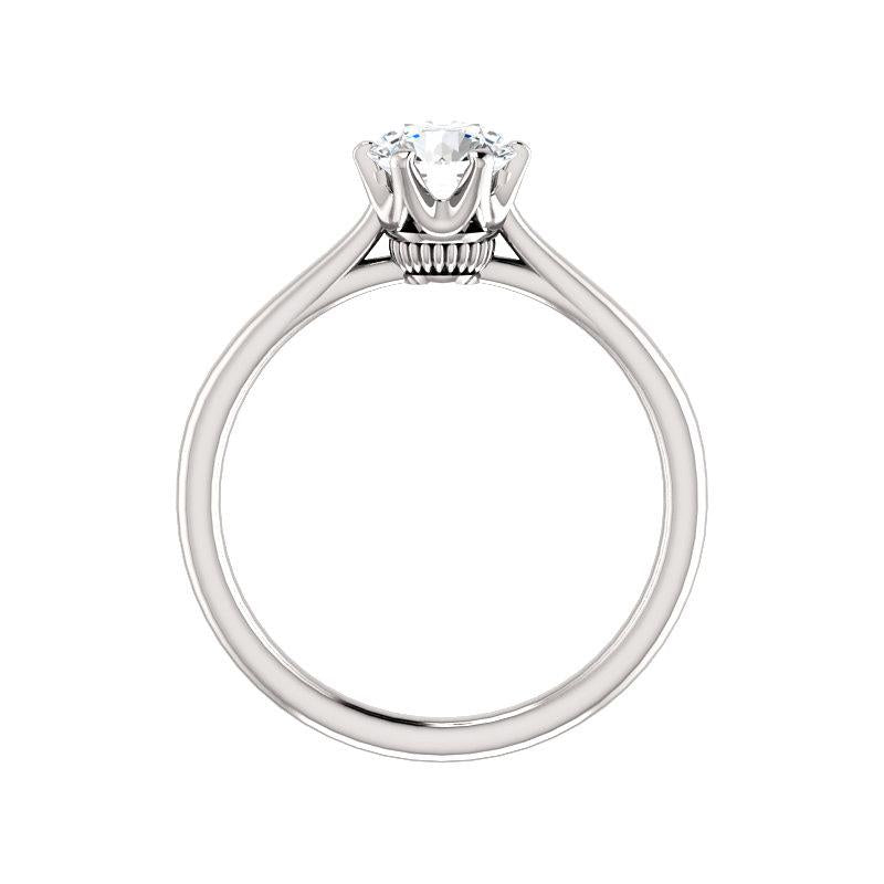 The Denice Round Moissanite Engagement Ring Rope Solitaire Setting White Gold Side Profile